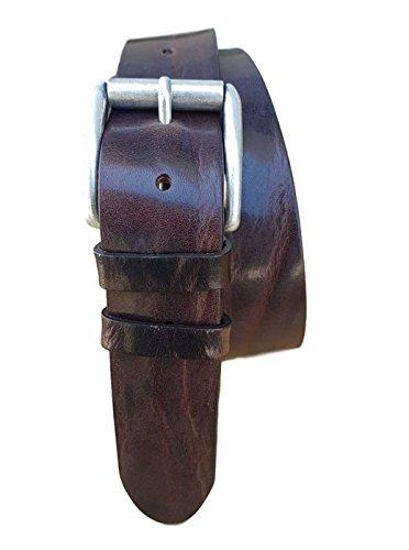 ESPERANTO Cintura in cuoio di toro 4cm, bottalato e stropicciato (3 varianti colore) (TAGLIA 52-120 CM -GIROVITA 105 CM, moro)