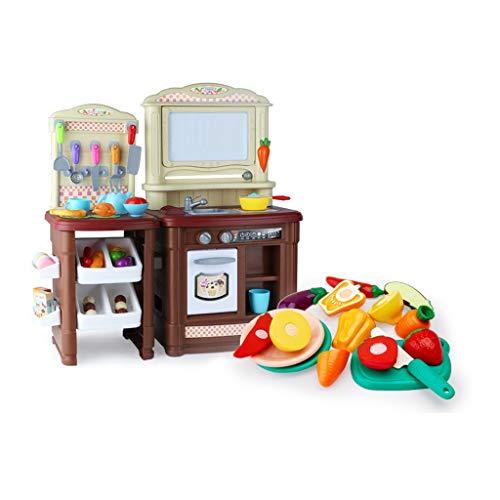 LHY Juego de juguetes de cocina Happy Little Chef pretends to Play with Toys, juego de cocina, juguetes de cocina de juguete, juguetes de música de sonido y luz (color: marrón)