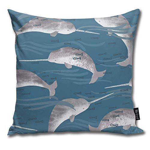 brandless Sea Narwhals Decorative Throw Pillow Covers Cases 18X18 Inches Pillowcases Case Cover Cushion Two Sided