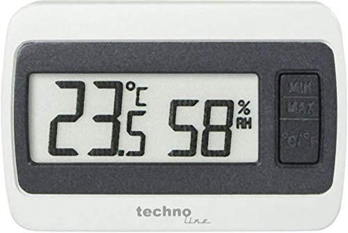 Technoline WS 7005 kleines Thermometer mit Min/Max Temperaturanzeige und Luftfeuchteanzeige, weiß-grau, 6 x 1,4 x 4 cm
