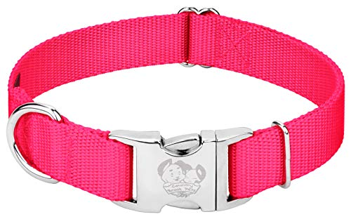 Country Brook Design – Vibrant 25 Color Selection – Premium Nylon Dog Collar with Metal Buckle (Extra Large, 1 Inch, Hot Pink)