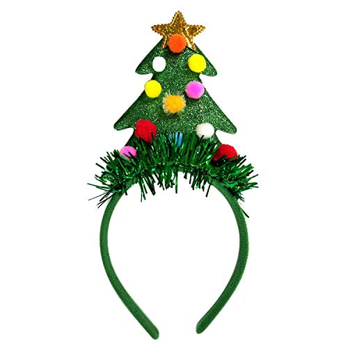 JennyGems - Christmas Tree with Colorful Balls and Gold Star Headband - Fun Party Hairband - Holiday Headband- Christmas Headband - Holiday Tree Headwear Holiday Wear