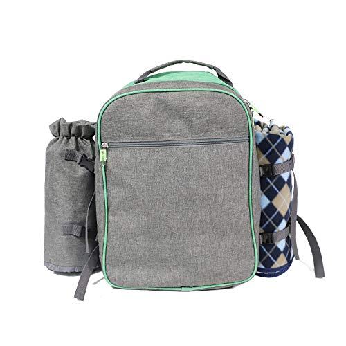 WLOWS 4 Person Picnic Backpack Hamper Cooler Bag con Juego De Mesa Y Manta,B