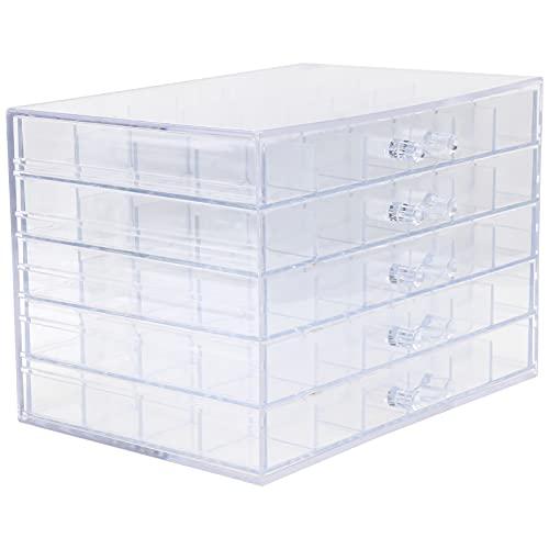 EXCEART 120 Grid Organizer Box Kunststoff Lagerung Container für Schmuck Handwerk DIY Wulst Nähen Dip Pulver Und Haar Zubehör (Transparent)