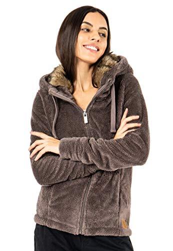 Sublevel Damen Fleece-Jacke mit Kunstfell & Teddy-Fleece Brown L