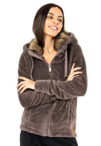 Sublevel Damen Fleece-Jacke mit Kunstfell & Teddy-Fleece Brown L