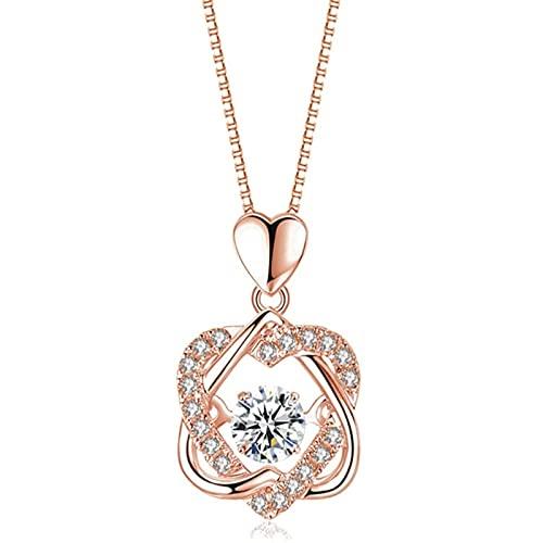 ShenMiDeTieChui Collar de corazón para Mujeres - Plata Rosa Oro Amor Collares Collares, Regalos para Esposa Madre Amigos cumpleaños Aniversario día de San Valentín (Color : Gold)