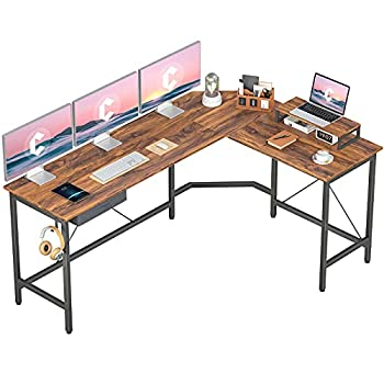 CubiCubi L Shaped Desk Computer Corner Desk Home Office Gaming Table Sturdy Writing Workstation with Small Table Space-Saving Easy to Assemble