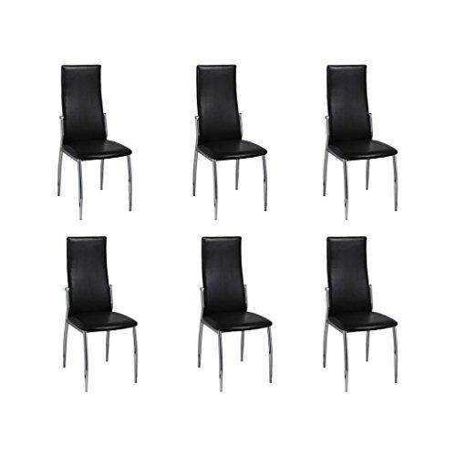 vidaXL 6 sillas de Comedor en Cuero Negro Cromo