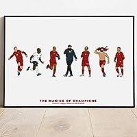 フットボールクラブスポーツスター受賞者レトロポスタープリントサッカー選手キャンバス絵画室壁アート写真家の装飾| 50x70cm(フレームなし)