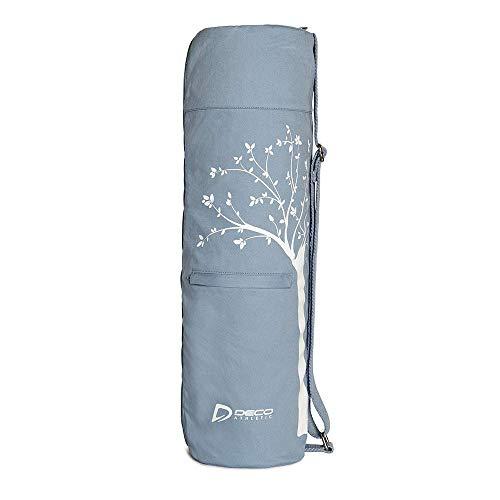 Deco Athletic Yoga Mat Bag 2 Large Zip Pockets, Large Mesh Pocket- Room for Towel, Wallet, Keys, Water Bottle, Fits Up to 25in Mat, Full Zip