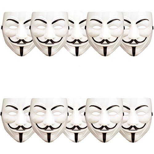 ART DECOR Germany 10 Stück V wie Vendetta Maske, Guy Fawkes Maske, Anonymous Maske, weiß