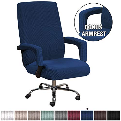 HVERSAILTEX Computer Office High Back Large Chair Covers Stretchable Jacquard Polyester Washable Rotating Chair Slipcovers with Armrest Covers Machine Washable/Non Skid SlipcoverLargeNavy