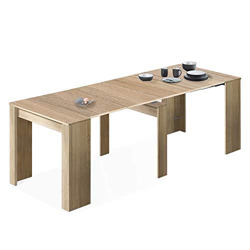 Habitdesign Mesa de Comedor, Consola, Mesa Extensible, Mesa para Salon recibidor o Cocina, Acabado en Roble Canadian, Medidas: 50-235 cm (Largo) x 90 cm (Ancho) x 78 cm (Alto)