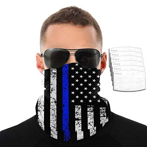 QSMX American Thin Blue Line Flag Day Neck Gaiter with Carbon Filter, UV ProtectionFace Cover for Hot Summer Cycling Hiking Sport Outdoor