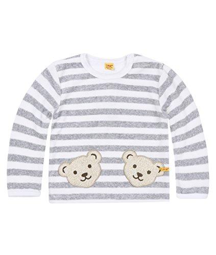 Steiff Collection Steiff Unisex - Baby Sweatshirt, gestreift Doppelbären Shirt 0002891, Gr. 62, Grau (softgrey 8200)