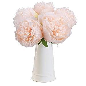 Silk Flower Arrangements MEIBEL Silk Plastic Peony Flowers 5 Heads Artificial Fake Flowers Bouquet Desk Plant for Office Decor