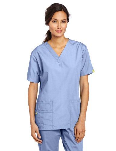 WonderWink Women's Scrubs Bravo 5 Pocket V-Neck Top, Ceil Blue, Medium