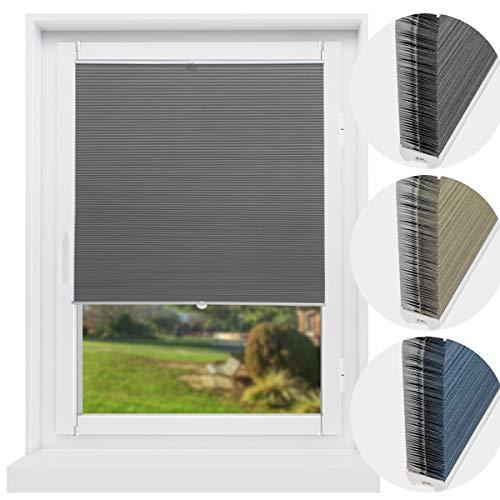 Atlaz Wabenplissee Verdunklung Thermo Zweifarbig 40x140cm Waben Plissee ohne Bohren mit Klemmträger für Fenster und Tür Sichtschutz und Sonnenschutz Weiß-Grau