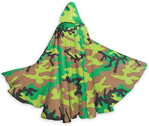 remmber me Fresh Green Camouflage Erwachsenen Mantel Unisex Halloween Robe in voller Länge Kapuzenmantel für Weihnachten Cosplay Party 59x15.8 Zoll