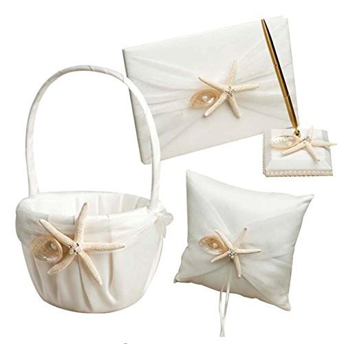 4 Pcs/lot Beach Theme Starfish Seashell Design Wedding Ring Pillow +Girls Flower Basket+Guest Book +Pen Set for Romantic Wedding Ceremony Party Favor Sets, Wedding Party Props Decoration Supplies