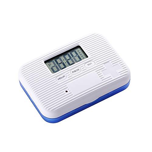 Digitale Pillendose Wecker Pillenbox Timer Alarm Pillen Elektronische Pillenbox Pillentimer, Tragbar Tablettenbox mit 6 Fächer Lagerung Für Reisen Outdoor Aufbewahruung, Blau