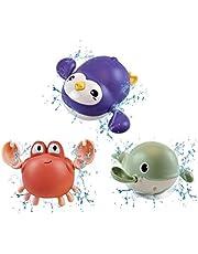 Voghtic Juguetes de baño para bebés de 1 año de edad, 3 piezas de natación ballena reloj de baño para niños pequeños, natación Buceo Buddy juguete de baño de cuerda