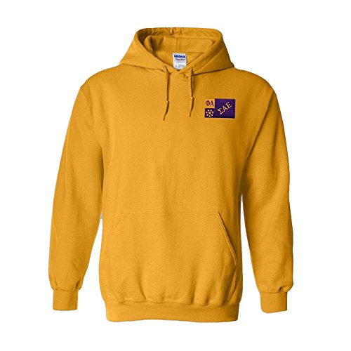 Sigma Alpha Epsilon SAE Flag Patch Hooded Sweatshirt Large Athletic Gold