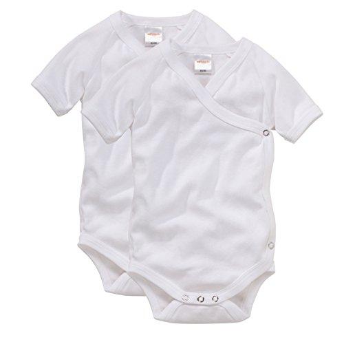 wellyou, Baby-Kinder Wickelbody 2er Set, klassisch weiß, für Jungen und Mädchen, Feinripp 100% Baumwolle, Größe 80-86