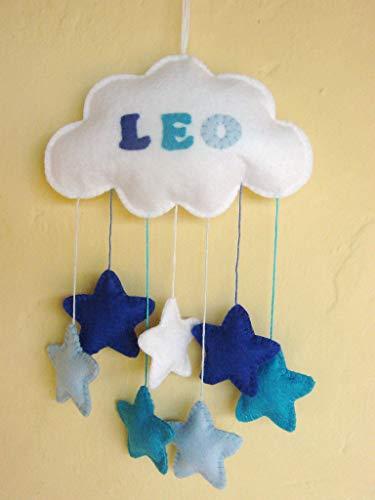 Móvil bebé nube fieltro estrellas azul turquesa nombre regalo