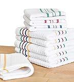 Pack de 9 paños de cocina, trapo de limpieza para el hogar 100% Algodón. Toalla de tela para limpieza de salón, baño, y cocina. Paño micro-fibra absorbente. Color blanco. Bayeta de Cocina.