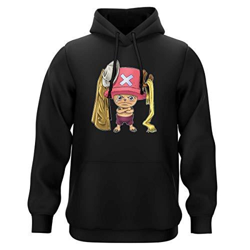 Sweat-Shirt à Capuche Noir Parodie One Piece - Tony Tony Chopper - Etendage Pirate : (Sweatshirt de qualité Premium de Taille M - imprimé en France)
