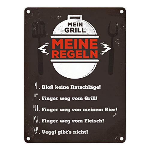 trendaffe - Mein Grill Meine Regeln Blechschild in 15x20 cm - Meine Grillregeln Metallschild Reklameschild Dekoschild