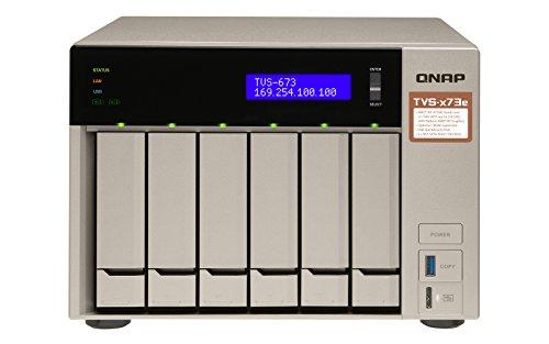 QNAP TVS-673E NAS Tower Ethernet LAN Grey - NAS & Storage Servers (HDD, SSD, M.2, Serial ATA III, 2.5/3.5', 0, 1, 5, 6, 10, JBOD, FAT32,HFS+,NTFS,exFAT,ext3,ext4, 2.1 GHz)