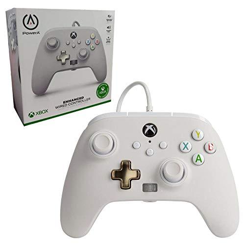 Manette filaire améliorée PowerA pour Xbox – Mist, blanc, manette de jeu, manette de jeu vidéo filaire, manette de jeu, Xbox Series X|S