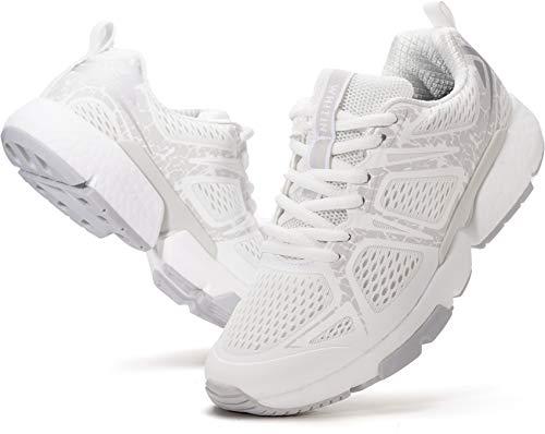 WHITIN Damen Laufschuhe Straßenlaufschuhe Traillaufschuhe Laufschuh Sportschuhe Turnschuhe für Frauen Mädchen Laufen Trailrunning Trail Running Fitnesschuhe Turnschuh Trekking Schuhe Weiß gr 39 EU