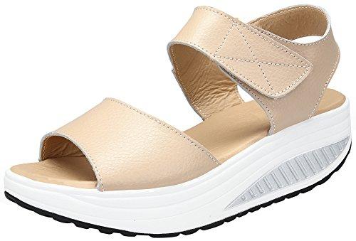 DAFENP Donna Mesh Sportive Fitness Peep Toe Sandali Sneaker Dimagranti Shape-ups Scarpe Piattaforma con Zeppa,lx308-beige2-EU37