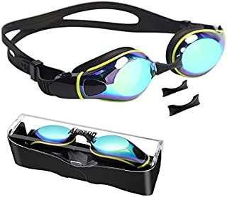 Aegend Swim Goggles with 3 Adjustable Nose Pieces, Flat Lens Swimming Goggles, No Leaking Anti-Fog UV Protection, Fit for Adult Men Women Youth Kids Child, 10 Colors