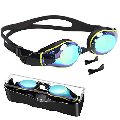 Aegend Swim Goggles, Flat Lens Swimming Goggles with 3 Adjustable Nose Pieces, No Leaking Anti-Fog UV Protection Swim Goggle for Adult Men Women Youth Kids Child, Aqua Black Mirrored Lens