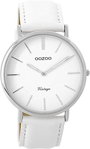Oozoo Vintage Damenuhr Lederband 40 MM Weiss/Weiss C9311