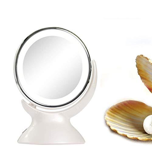 L.HPT Miroir de Maquillage éclairé, Miroir de courtoisie Double Face de 6,49 Pouces avec éclairage LED Naturel Ajustable, Miroir grossissant 5 Fois avec Socle, Adaptateur Secteur ou à Piles