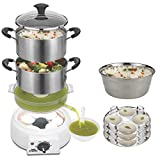 Steemo Plastic Free Food Contact, Flavour &Taste Maintaining Best Stainless Steel Multi Steam Cooker Healthy Electric Food Steamer Momos Egg Boiler Turbo Steam Generator Starts In 30 Sec 600W Only 5lt
