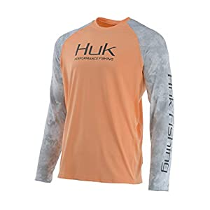 HUK Mens Double Header Vented Long Sleeve Shirt | Premium Fishing Shirt with +30 UPF Sun Protection