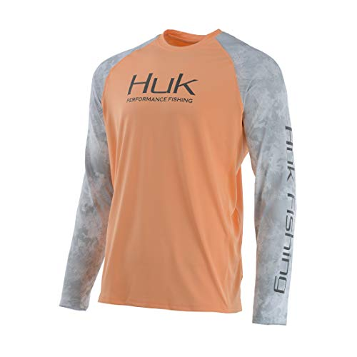 Huk Men#039s Double Header Vented Long Sleeve Shirt Beach Peach XLarge