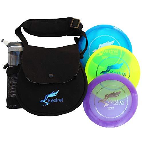 Kestrel Discs Golf Pro Set | 3 Disc Pro Pack Bundle + Black Bag | Disc Golf Set | Includes Distance Driver, Mid-Range and Putter | Small Disc Golf Bag (Black)