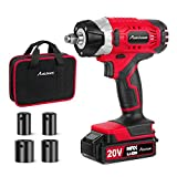 "20V MAX Cordless Impact Wrench with 1/2"" Chuck, Max Torque 185 ft-lbs, 4Pcs Driver..."
