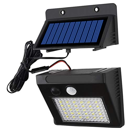 OSALADI Luces de Cubierta Solar Lámpara Impermeable Al Aire Libre Luces de Sensor de Movimiento Lámpara de Pared de 30 Leds para Lámpara de Patio Carretera Calle Balcón Patio Jardín (Tres Modos Negro)