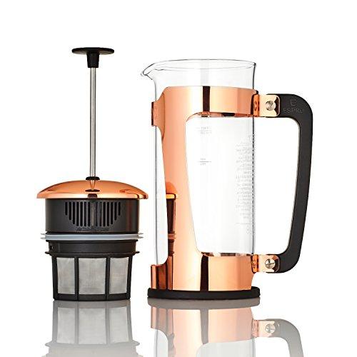 ESPRO French Press P5, Kaffee Stempelkanne aus Glas mit patentiertem Safety-Lock -System und patentiertem Double Micro-Filter, Coffee-Maker, Kaffeezubereiter, 950ml, kupfer