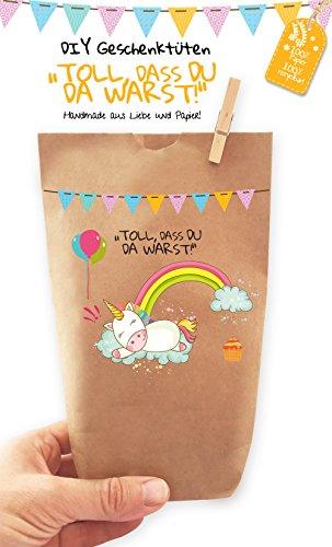 6x Einhorn Geschenktüten / Papiertüten liebevoll bedruckt aus Kraftpapier, zum Verpacken von...