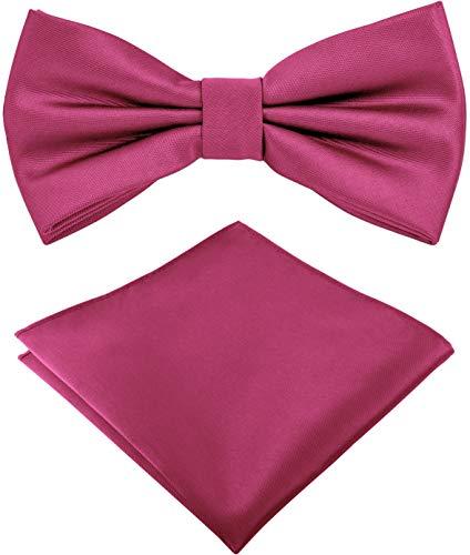 Helido Fliege für Herren mit Einstecktuch, 12 verschiedenfarbige Accessoires-Sets passend zu Hemd und Anzug oder Smoking + Geschenkbox (Pink)